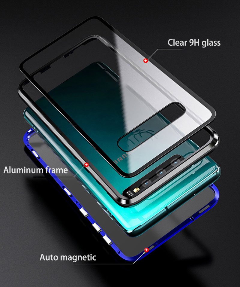 Full Protective Magnetic Case For Samsung Galaxy S10 Plus Case double sided Transparent Tempered Glass Case for Samsung S10E S10 in Fitted Cases from Cellphones Telecommunications