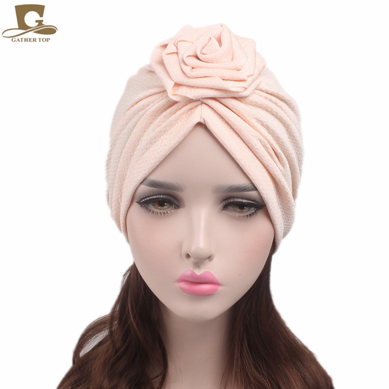 d6a082eb87fe Nouveau mode de Femmes Élégant rose fleur turban bonnet chimio cap Dames  Bandanas Tête wrap Femme