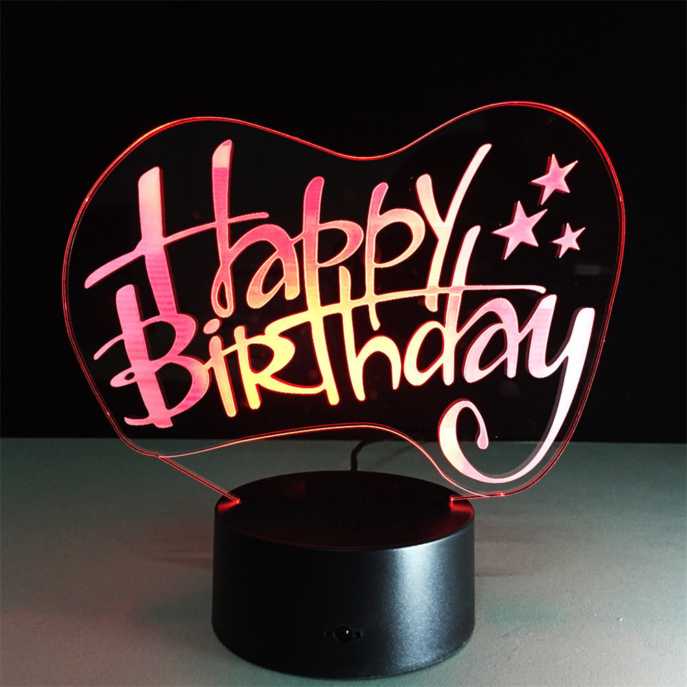 Happy Birthday 3D Night Light Colorful Musical Note Shape Creative Touch Type Desktop Energy Saving LED