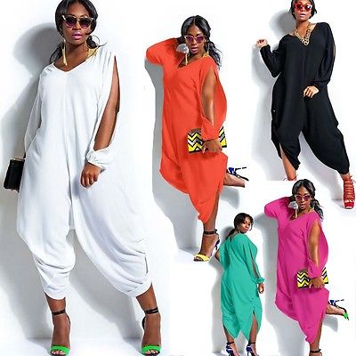 Women Hot Long Sleeve Chiffon Romper Baggy Harem Jumpsuit Plazzo Plus Size