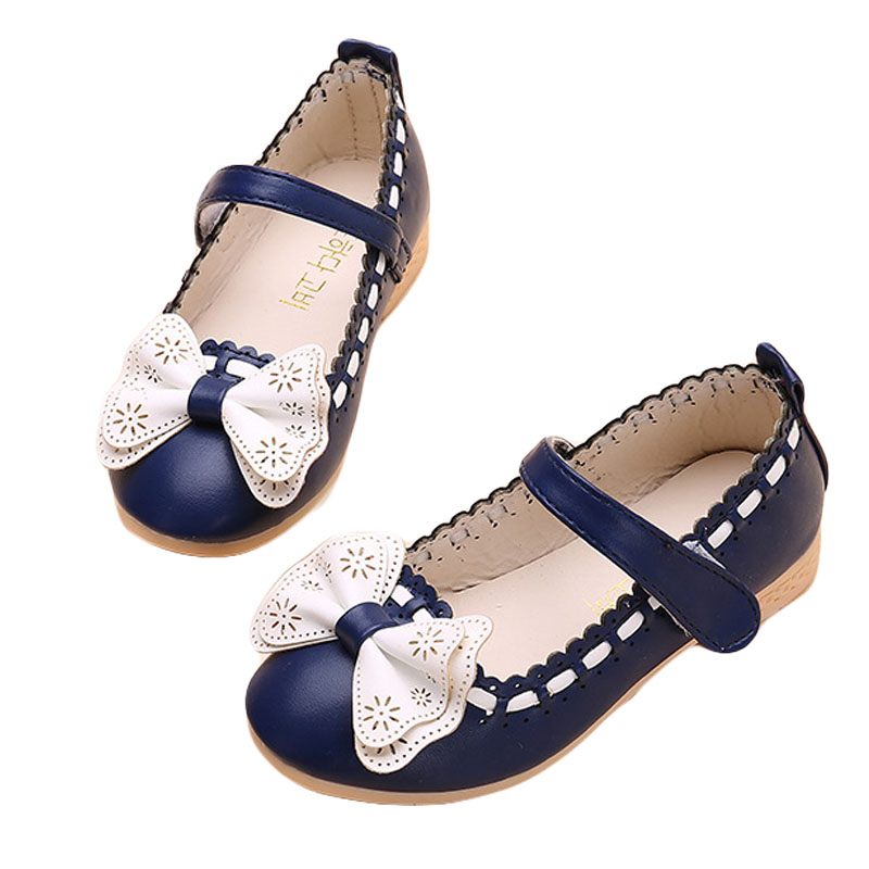 PU Leather Kids Bow Shoes Cute Bowknot Princess Flats Spring Autumn Slip On Children Casual Sneaker