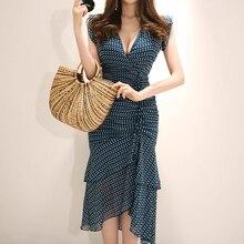 QLZW 2018 Autumn Pattern Korean V-neck Line Sleeveless Chiffon Dress  Printing Long 6a237057b89d