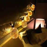 Vintage Iron Pineapple Night Lights 10 Leds 20 Leds String Lamp 1.5M 3M EU 220V / Battery Powered Lantern Romantic Wedding Decor
