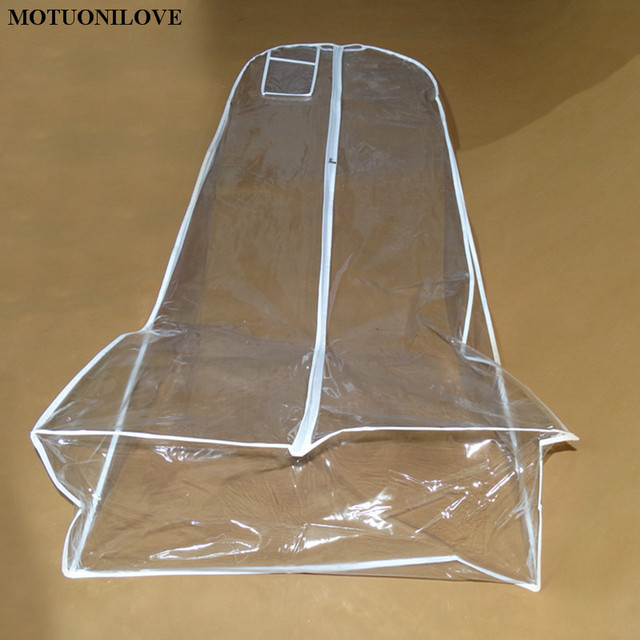 180cm Cheap Wholesale Transparent Solid For Wedding Dress Dust Cover Extra Large Waterproof PVC Clothing Garment Bags Print LOGO