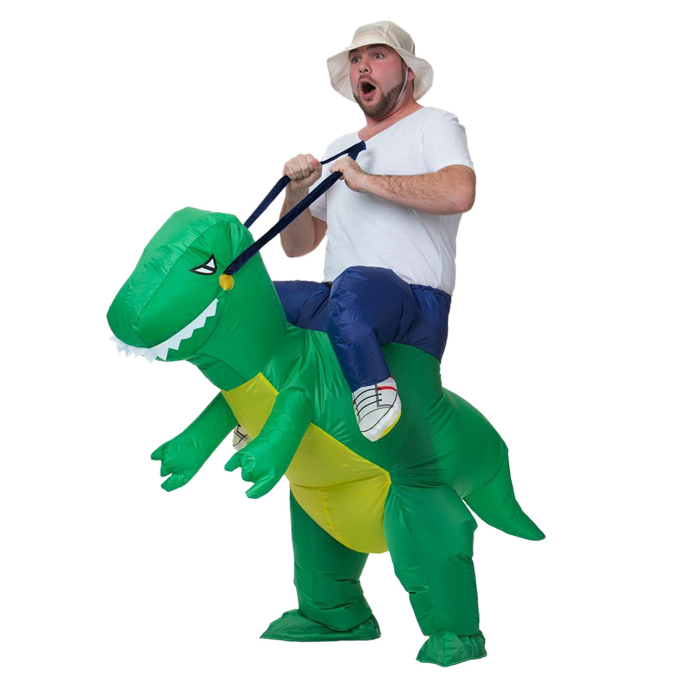 Halloween Green Dinosaur Anime Inflatable Costume Adult Sitting on Dinosaur Funny Party Inflatable Dino Performance Costume