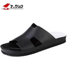 Z.Suo 2017 Men's Genuine Leather Flip Flops Beach Sandals Slippers For Men Summer Style Shoes Sandalias Size:38-44 ZS18100