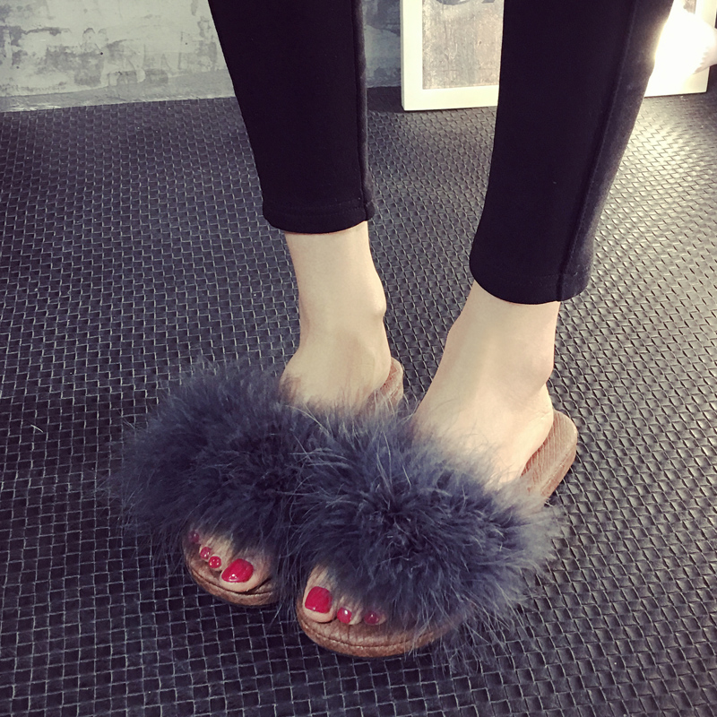 Fur Furry Slide Sweet Feather Thick Bottom Beach Female Sandals Hair Flip Flops