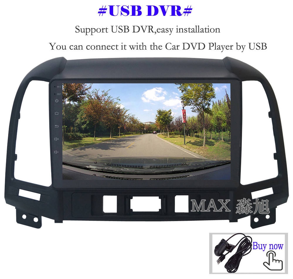 Perfect MAX Android 8.1 2G 32G 8 Core Car DVD Player for Hyundai santa fe 3/4holes with 2.5D+IPS Screen car stereo radio RDS Maps swc 14