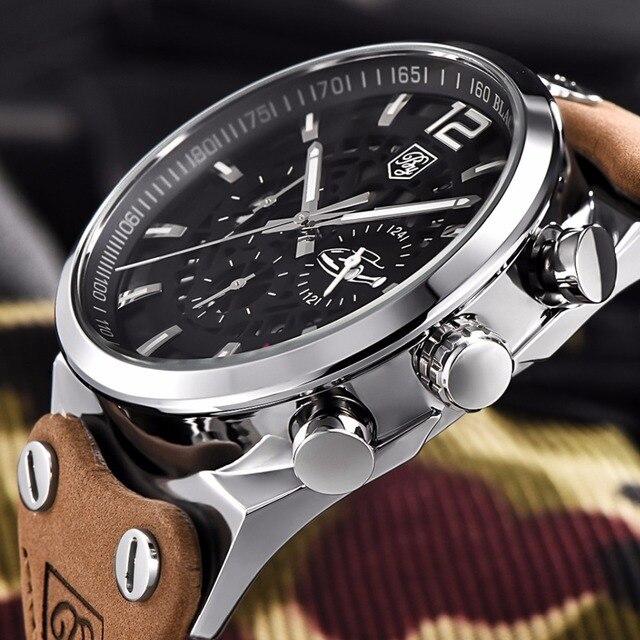 ab492e9c86cb Benyar hombres reloj marca superior de lujo hombre cuero impermeable  deporte cuarzo cronógrafo militar reloj de