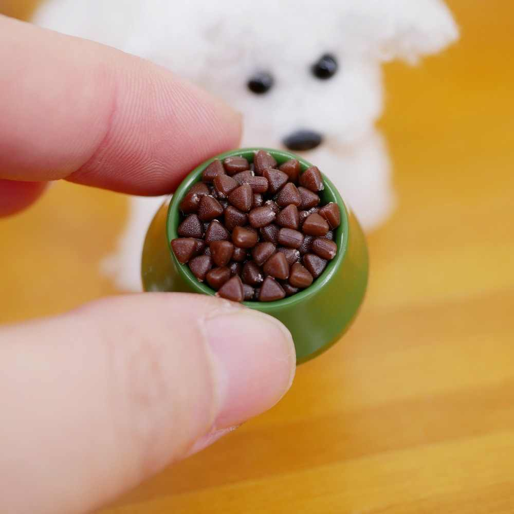 Dolls House Miniature Green Handmade Dog Bowl