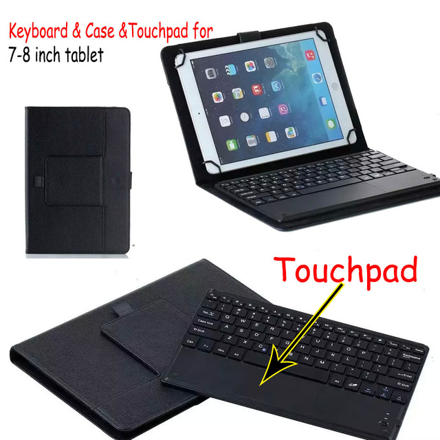 3 in 1 Dechatable Bluetooth Keyboard with Touchpad & PU Case Cover for Samsung Galaxy Tab E 8 SM-T377V T377P T377R T375F 8 universal dechatable bluetooth keyboard w touchpad
