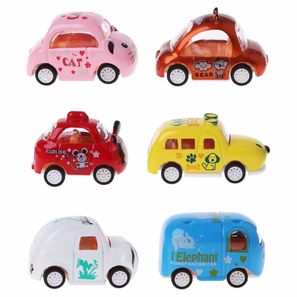 HBB 6PCS Alloy Car Model Cartoon Inertia Car Education Toy Gifts Baby Toy Kid Toy