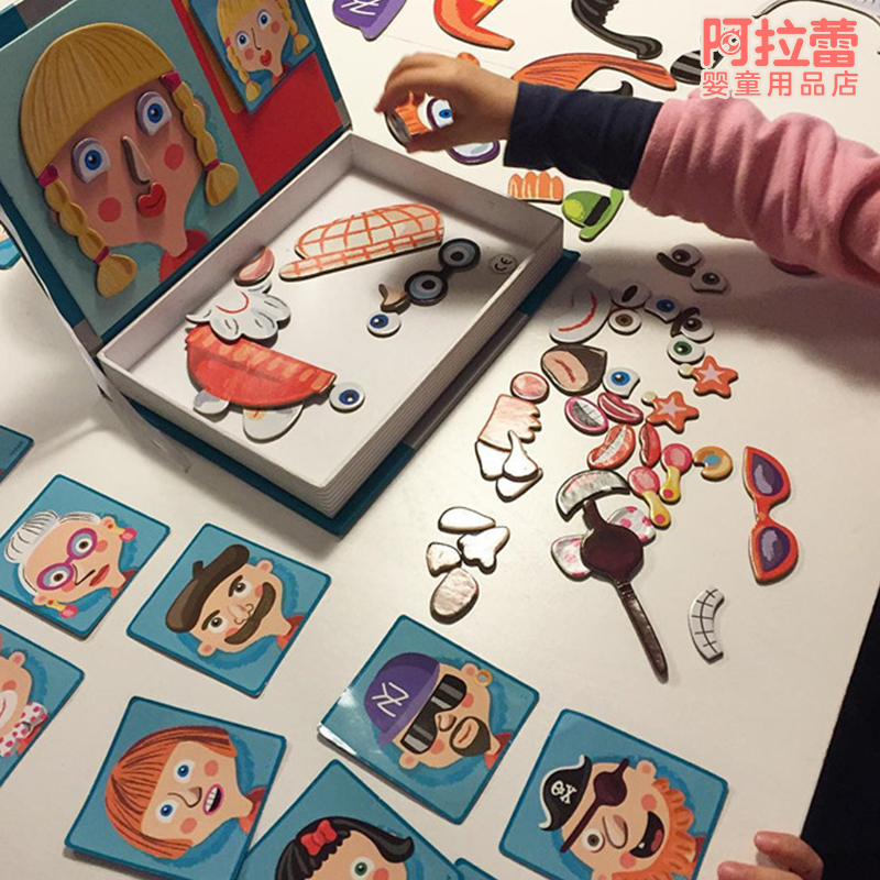Candice guo Multi function educational wooden toy magnetic jigsaw puzzle wood box card pattern match game kid drawing board 1set