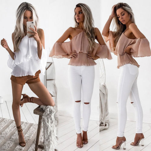 Fashion Women Ladies Summer Loose off Shoulder Blouse Shirts Pink White Casual Halter Ruffles Blouse Tops Clothes