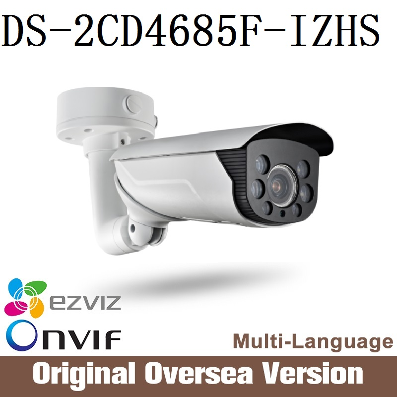 HIKVISION Ip Camera DS-2CD4685F-IZHS 2.8-mm Cctv security Bullet English Version H265 da hua 1080p Poe audio Ip66 Onvif RJ45uk hikvision ds 2de7230iw ae english version 2mp 1080p ip camera ptz camera 4 3mm 129mm 30x zoom support ezviz ip66 outdoor poe