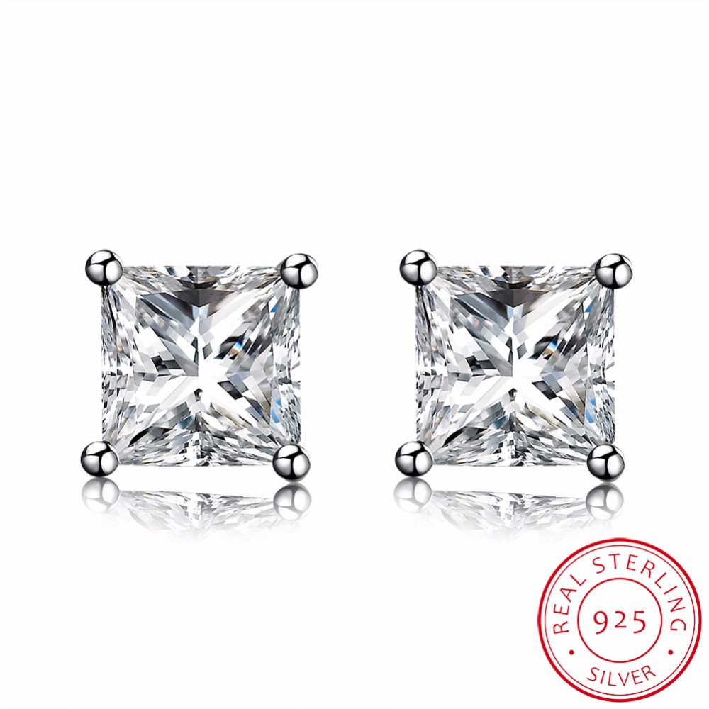 MEEKCAT Trendy Men Women Square Crystal Genuine 925 Sterling Silver 4mm 5mm 6mm 7mm 8mm 4 Claw Princess Cut CZ Stud Earring