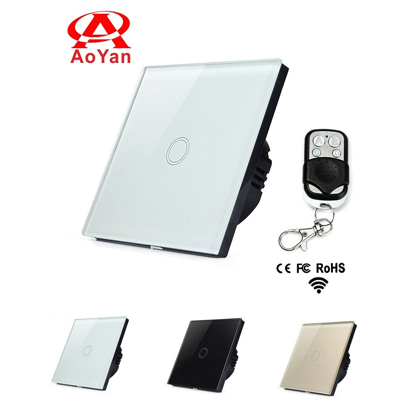Aoyan EU Standard Remote Switch, 1 Gang 1 Way Toughened Crystal Glass Panel Touch Switch,110-250V Compatible Broadlink RM2 RM Pr funry us au standard remote switch crystal glass panel wall light touch switch 2 gang 1 way compatible broadlink rm2 rm pro