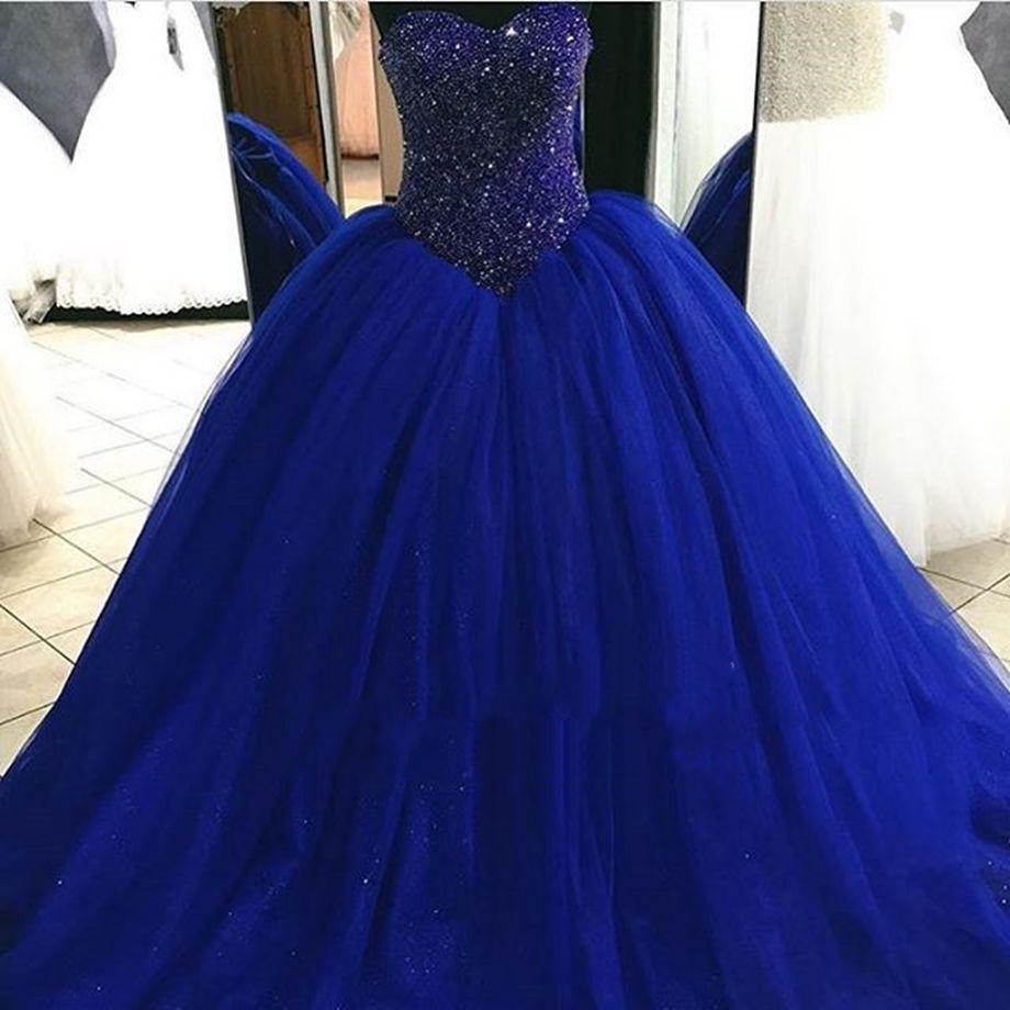 074f9c93f8a ✅ (BEST SELLER) 2019 New Cheap Royal Blue Puffy Tulle Ball Gown ...