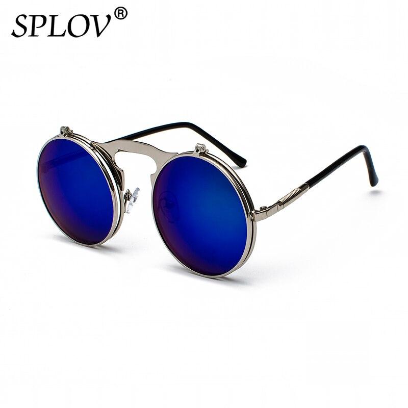 SPLOV Vintage Steampunk Flip lunettes de Soleil Rétro Ronde En Métal Cadre  Lunettes de Soleil pour 37ccf1e0c935
