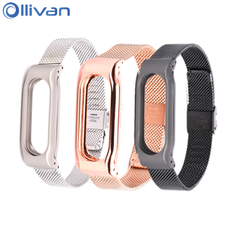 Ollivan Metal Strap For Xiaomi Mi Band 2 Screwless Stainless Steel Bracelet For MiBand 3 Wristbands Wearable Replace Accessories