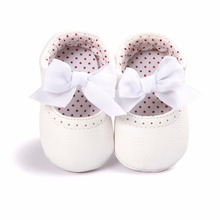 цена на New Spring/Autumn Baby Shoes Fashion Solid Comfortable Soft Sole First Walkers Shoes Beautiful Butterfly-knot Slip-On Baby Shoes