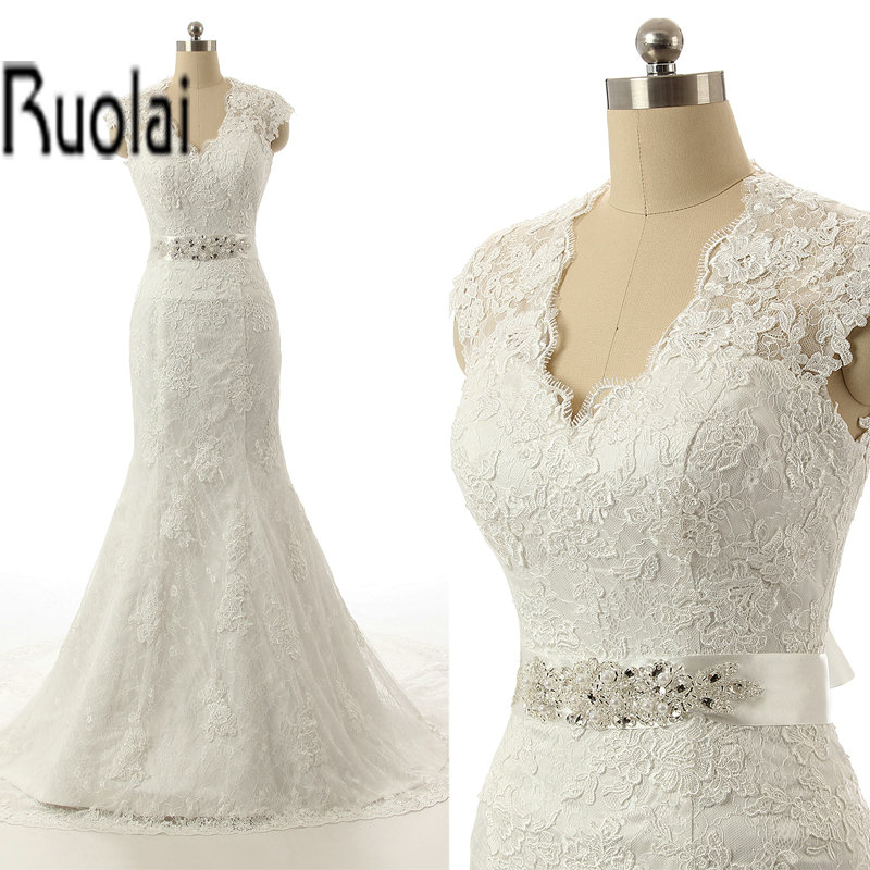 Real sample white bridal wedding gowns hand made lace for True mermaid wedding dresses
