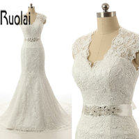Real Sample White Bridal Wedding Gowns Hand Made Lace Applique Mermaid Wedding Dress 2015 Sexy Keyhole