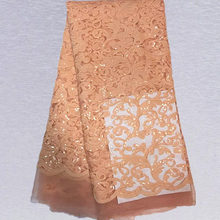 Item No.SSN21  pretty paterrn african tulle lace fabric with sequins for wedding dress ON SALE