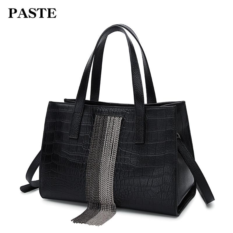 2018 New Luxury Chain Beading Tassels Women's Bag Handbag Genuine Cow Leather Stone Pattern Shoulder Messenger Bag Brand Design characteristic multi colored tassels design waved pattern body chain for women