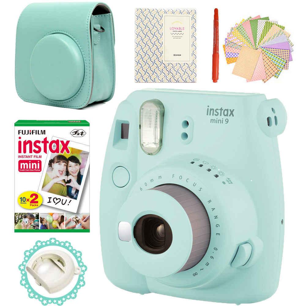 フイルムインスタックスミニ 9 カメラアイスブルー + 20 写真富士フイルムインスタントミニ 8 白色フィルム + Pu レザーバッグ + アルバム + ペン + ステッカー