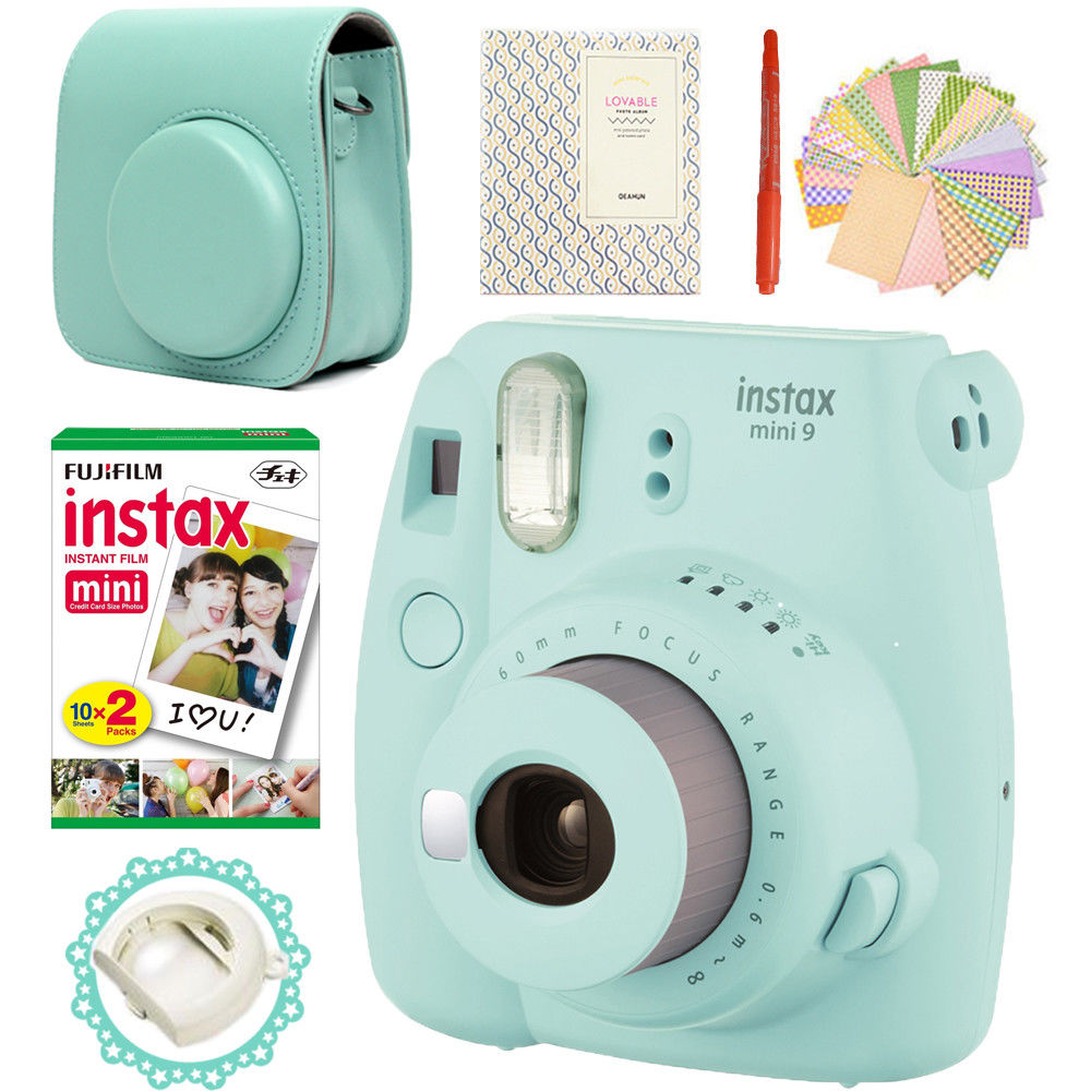 Polaroid Camera Blue | Fujifilm Instax Mini 9 Camera Ice Blue + 20 Photos Fujifilm Instant Mini 8 White Film + PU Leather Bag +  Album + Pen + Stickers