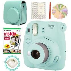 Fujifilm instax mini 9 câmera gelo azul + 20 fotos fujifilm instant mini 8 filme branco + bolsa de couro do plutônio álbum caneta adesivos