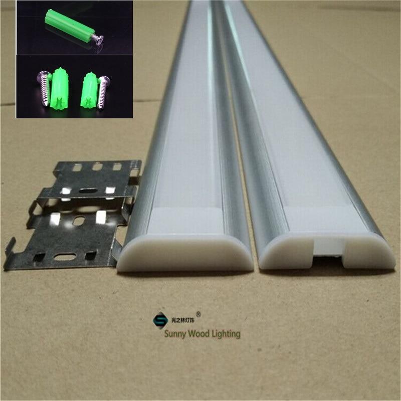 10-30pcs / tétel 2m-es alumíniumprofil 26mm-es csíkozott csíkhoz, szerelvényekkel, fényvezető lapos LED-csatorna bar fényre