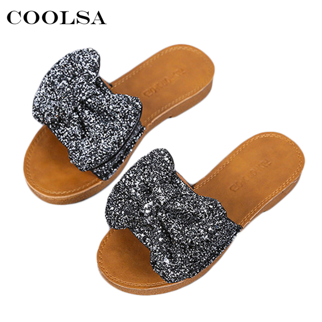 a7f90a087f45 Coolsa Women Bling Bow Flip Flops Sparkling Sequins Butterfly-kont Beach  Slippers House Slippers Female Casual Rhinestone Shoes