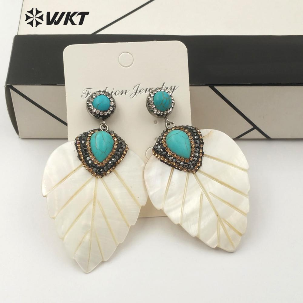 WT RE086 WKT Natural Shell Leaf Shape Earrings Shell Earrings With Turquoises Charm Rhinestone Pave Earringst