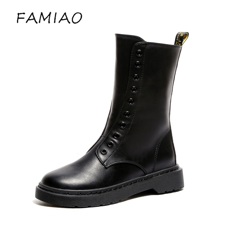 FAMIAO thigh high boots 2017 women boots zapatos mujer Black shoes round toe motorcycle boots low heel mid calf botas mujer 2017 fashion women boots botas mujer zapatos mujer ankle boots for women thigh high boots chaussure femme bottes femmes 2016