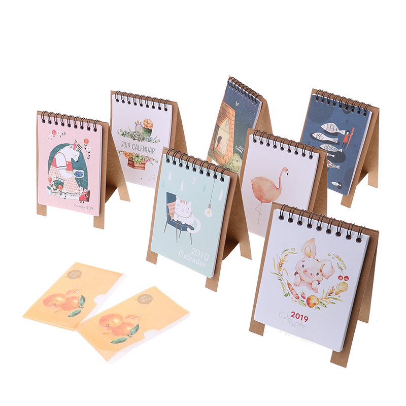 Kawaii Cartoon Animal Calendar Desk Standing Paper Calendar Multifunction Schedule Planner Notebook Sale Overall Discount 50-70% Calendar
