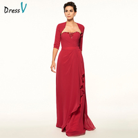 Dressv Red Long Mother Of The Bride Dress Strapless Half Sleeves A Line Beading Pleats Sashes