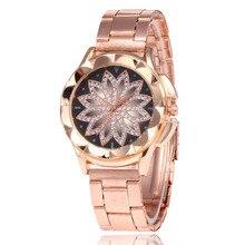 2019 New Women Crystal Gold Flower Casual Quartz Watch Women Stainless Steel Dress Watches Relogio Feminino Women Clock Hot Sale