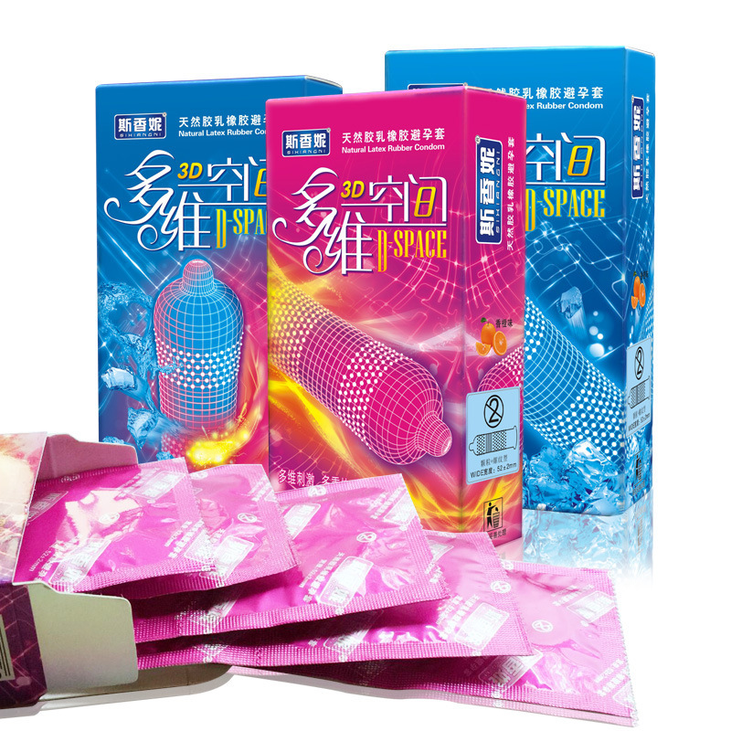 36Pcs 3D Spaces Condom Ice+Hot Style Spike G Spot Condom Silicon Special Condoms For Men