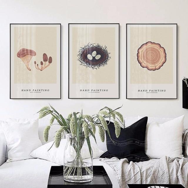 Morden Home Decoration Nordic Einfache Handgemalte Baum Jahr Runde Wand Bild  Für Wohnzimmer Rahmenlose Vogelnest Wandkunst