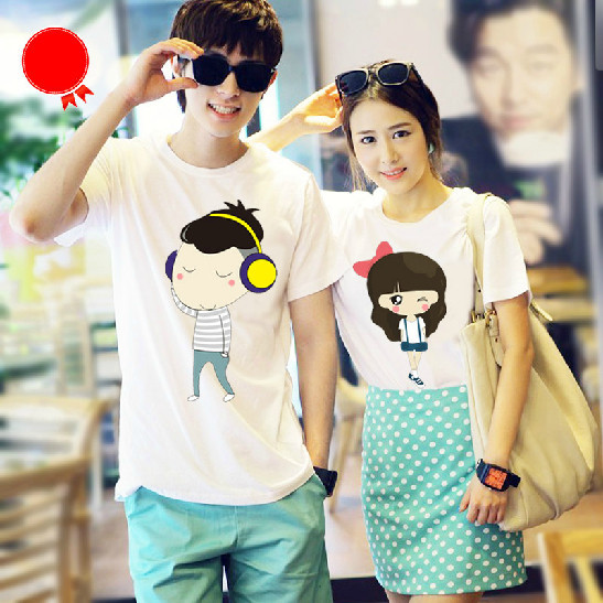 ba0dc93e130 Campus couple tshirt lovers shirt Birthday Gifts personalized fashion  Couple clothes Sweet T shirt 2pcs lot Free Shipping