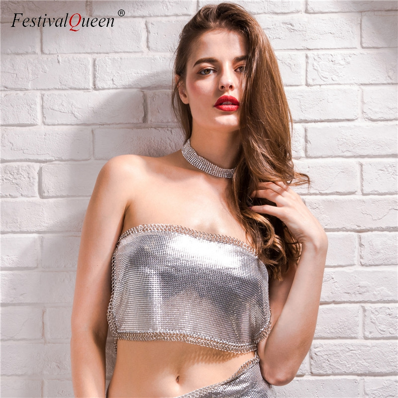 <font><b>FestivalQueen</b></font> <font><b>sexy</b></font> sequined chunky chain crop top women 2018 fashion streetwear backless cami tank tops two wearing styles image