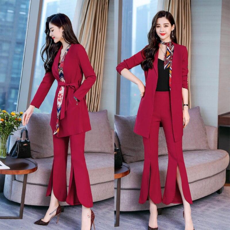 New Hot Women's Suit Two-piece Suit (jacket + Pants) Women's Long Suit Jacket Split Bell Flare Pants Women's Suit