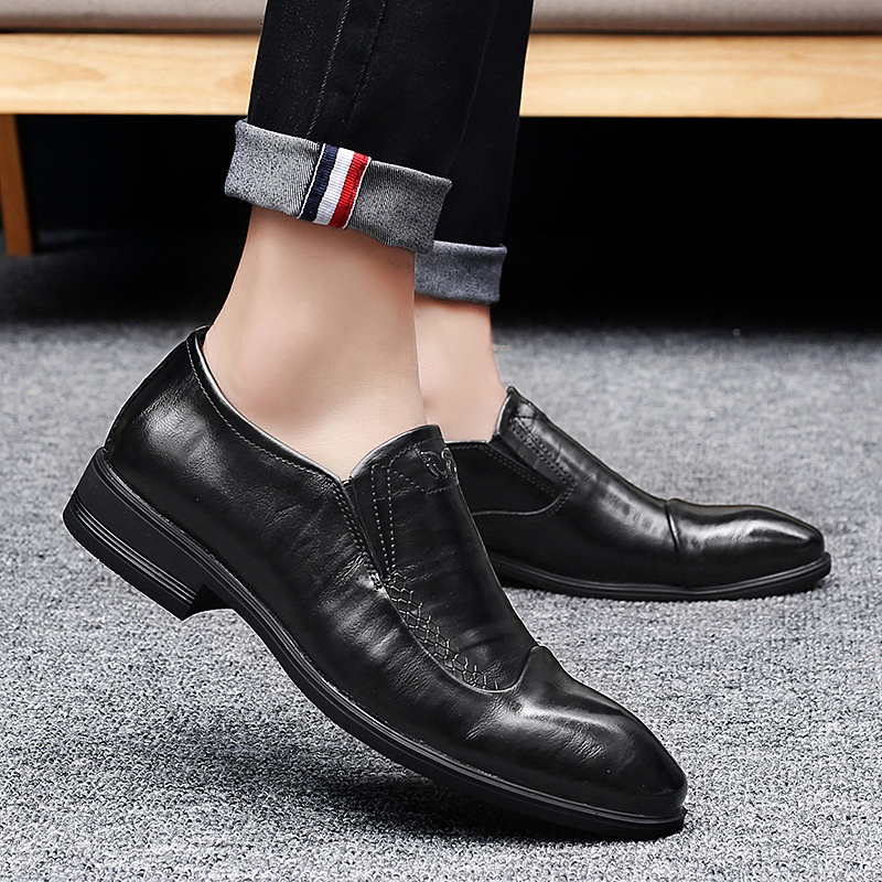 Handmade genuine leather men oxfords shoes Italian Style slip on Men Dress Loafers Formal Business wedding Oxfords Shoes Men 35