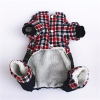 Funny Pet Dog Red Black Plaid Shirt Denim Jeans Heart Strap Pants Rompers Pets Demin Straps