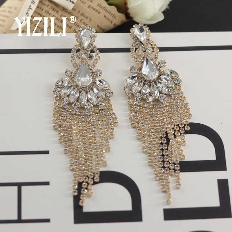 YIZILI luxury Sexy Exaggerated Long Tassel Dangle Earrings for Women crystal Shiny Diamante Earring Vintage Fringing JewelryE062
