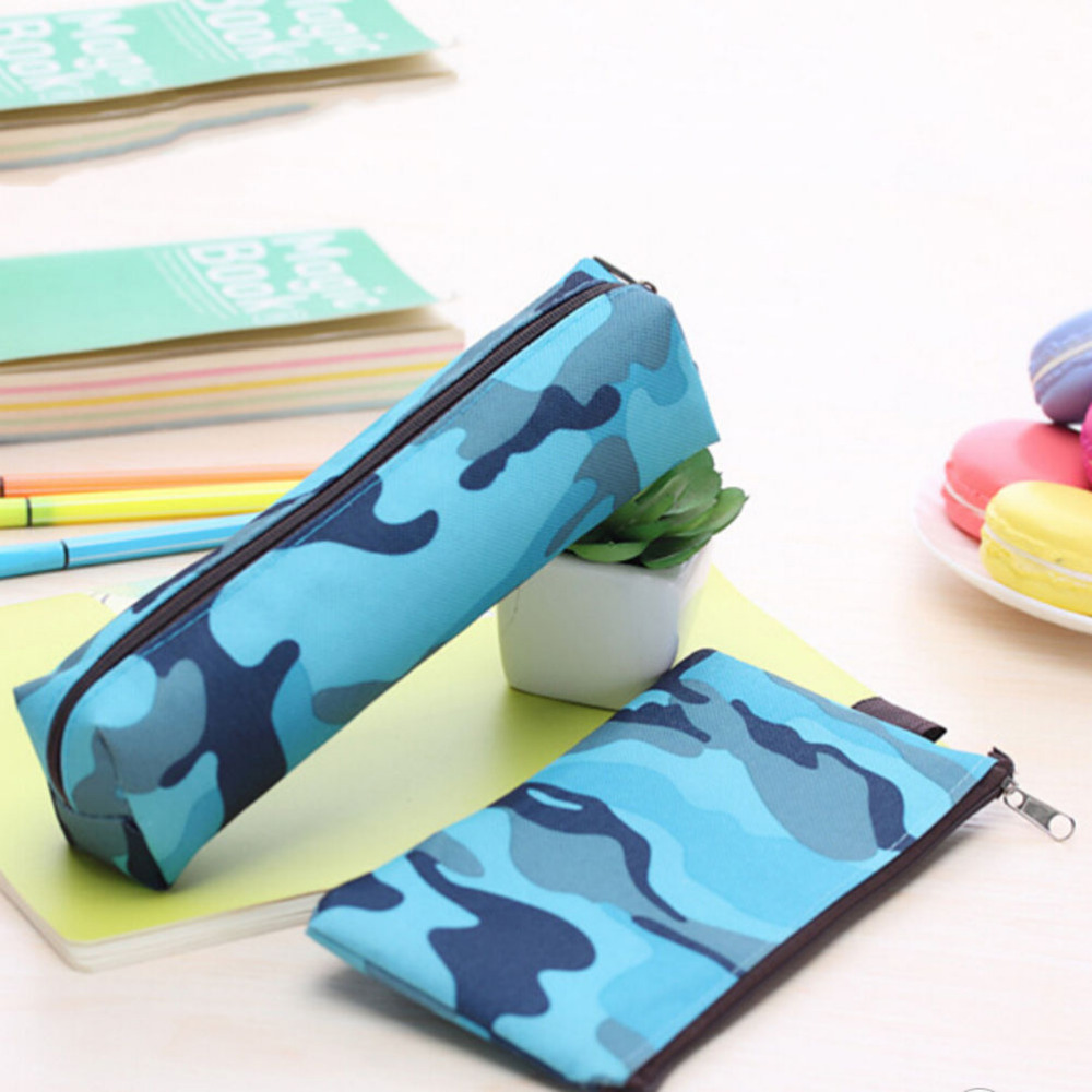 Cosmetic Makeup Bags Vintage Camouflage Zipper Pouch Purse Pencil Case Pencil Bag For Boys and Girls 4 Colors