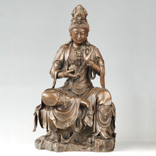 ATLIE BRONZES  statue Lotus Guanyin Bronze buddha KWAN-YIN with lotus flower Figurines Chinese Buddha sculpture home decor