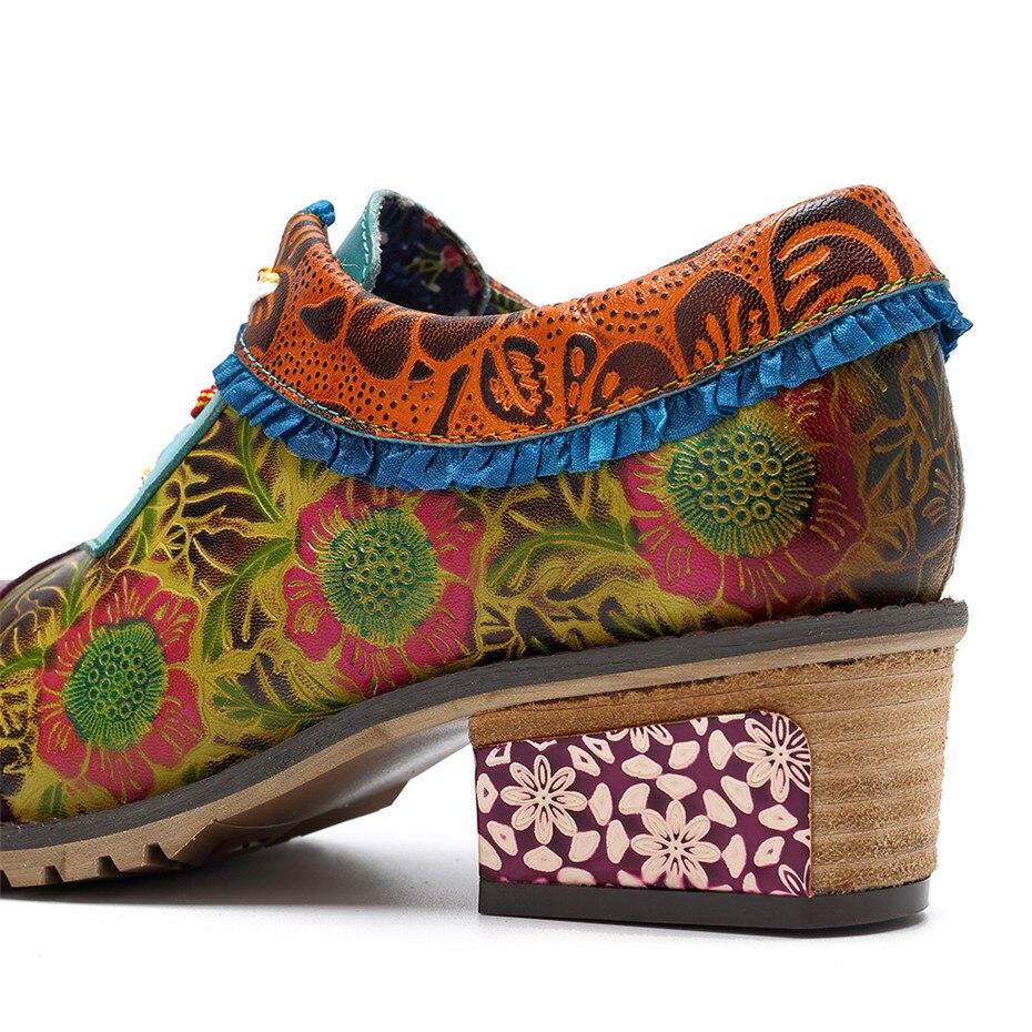 Bloque Retro A Señora De Para Vintage Cuero Mujeres Hecho Zapatos Mano 4xl94 Oxfords Casuales Brogue Tacón Genuino Las 7qv51avx